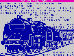 Southern Belle ZX Spectrum Option screen.