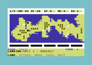Operation Iceberg: The Battle for Okinawa Commodore 64 The map of battle.