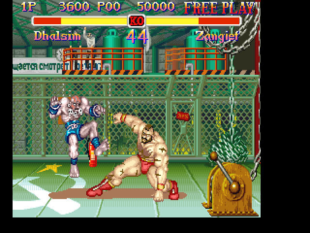 Super Street Fighter II FM Towns ...but he is feeling better in his Soviet motherland, kicking the crap out of Dhalsim. Hindi, russi, phai-phai? Hardly...