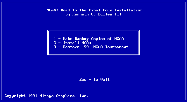 NCAA: Road to the Final Four DOS Install and setup game to play
