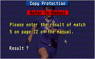 Championship Manager Italia DOS Copy protection screen