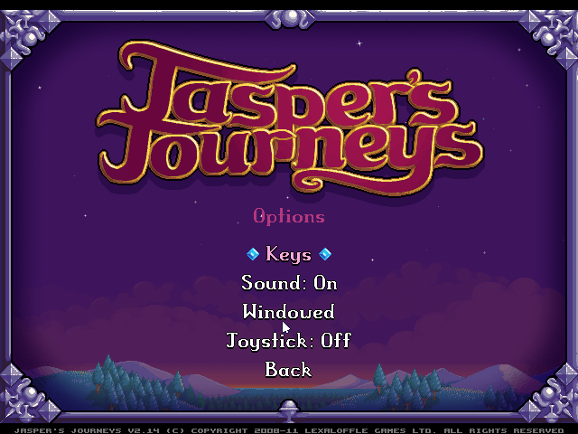 Jasper's Journeys Windows The few options in the options screen.
