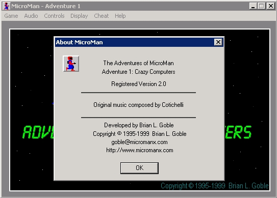 The Adventures of MicroMan Windows Adventure 1: About MicroMan.