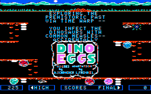 Dino Eggs PC Booter Title screen (CGA with composite monitor)