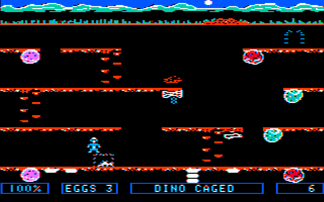 Dino Eggs PC Booter Collect eggs and save the hatched baby dinos (CGA with composite monitor)