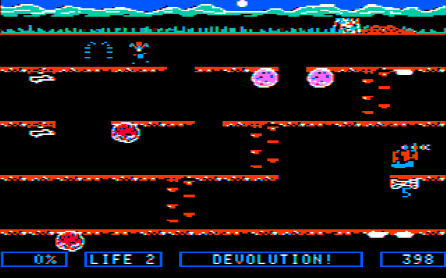 Dino Eggs PC Booter Devolving into a spider (CGA with composite monitor)
