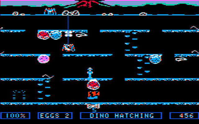 Dino Eggs PC Booter Spiders can trap and steal baby dinos (CGA with composite monitor)