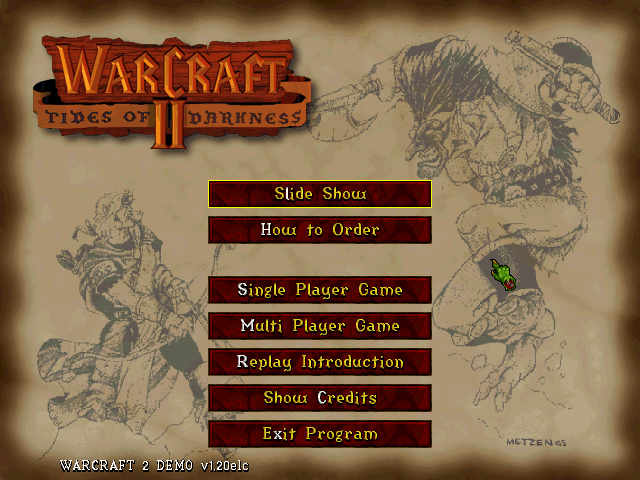 Warcraft II: Tides of Darkness (Demo Version) DOS The main menu with the slide-show and ordering information options.