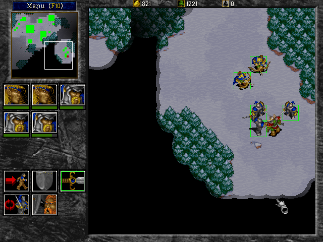 Warcraft II: Tides of Darkness (Demo Version) DOS Mopping up the few orcs in the vicinity with a rather sizeable taskforce.