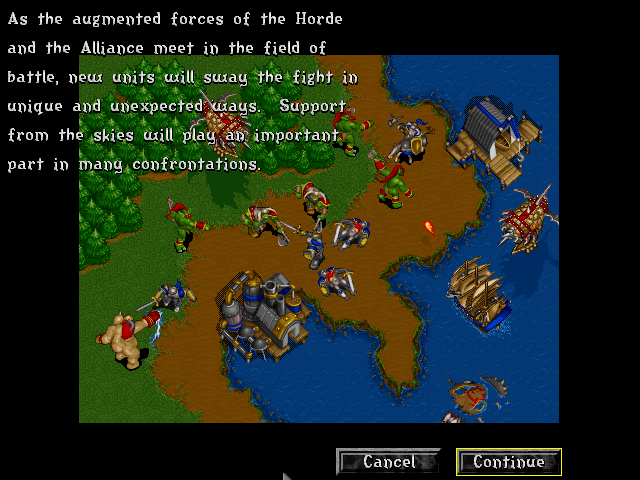 Warcraft II: Tides of Darkness (Demo Version) DOS Screenshot from the preview slide-show. Notice the early version of the knight.