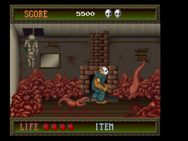 Splatterhouse FM Towns Scripted fight against respawning disgusting worms