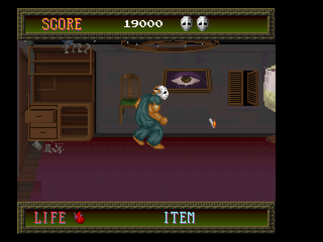 Splatterhouse FM Towns This fight is against possessed furniture!