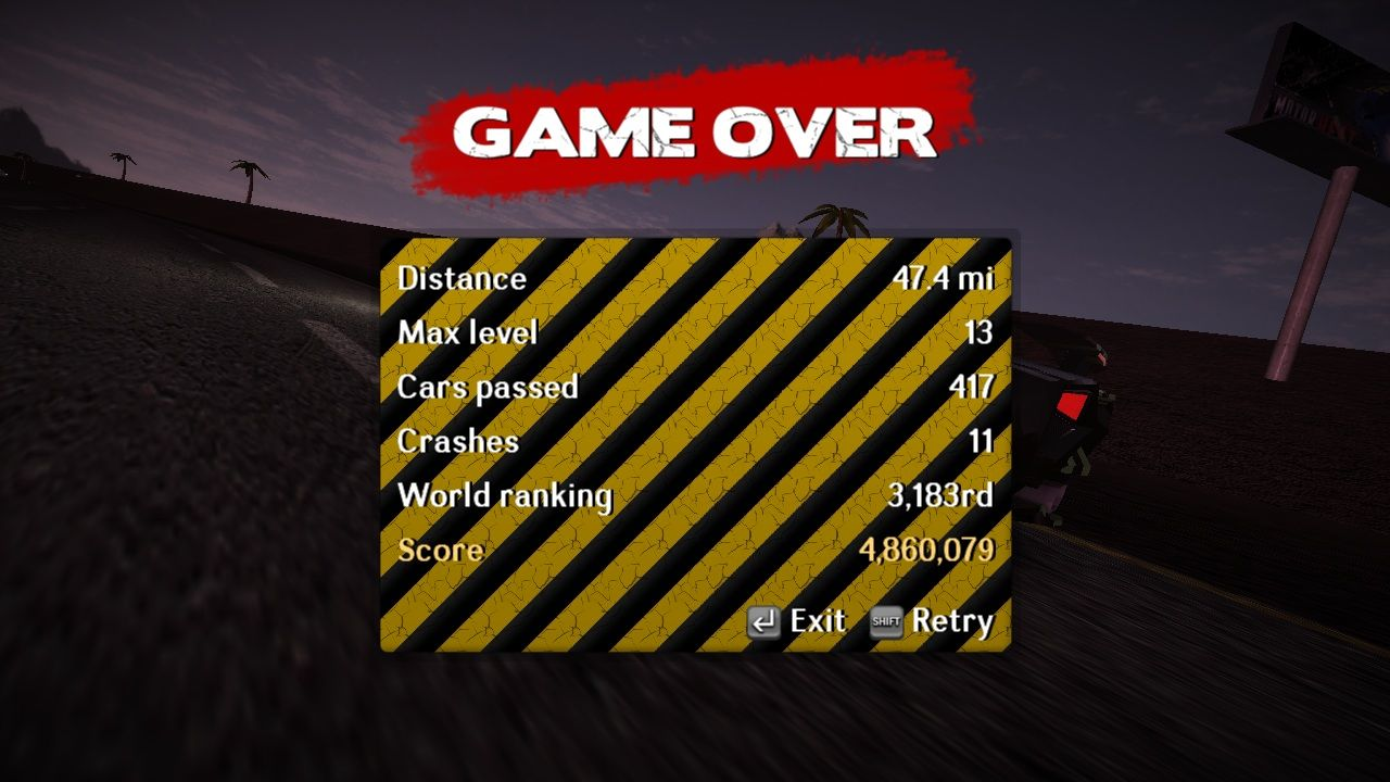 MotorHEAT Windows The Game Over screen displays the statistics of the last run.