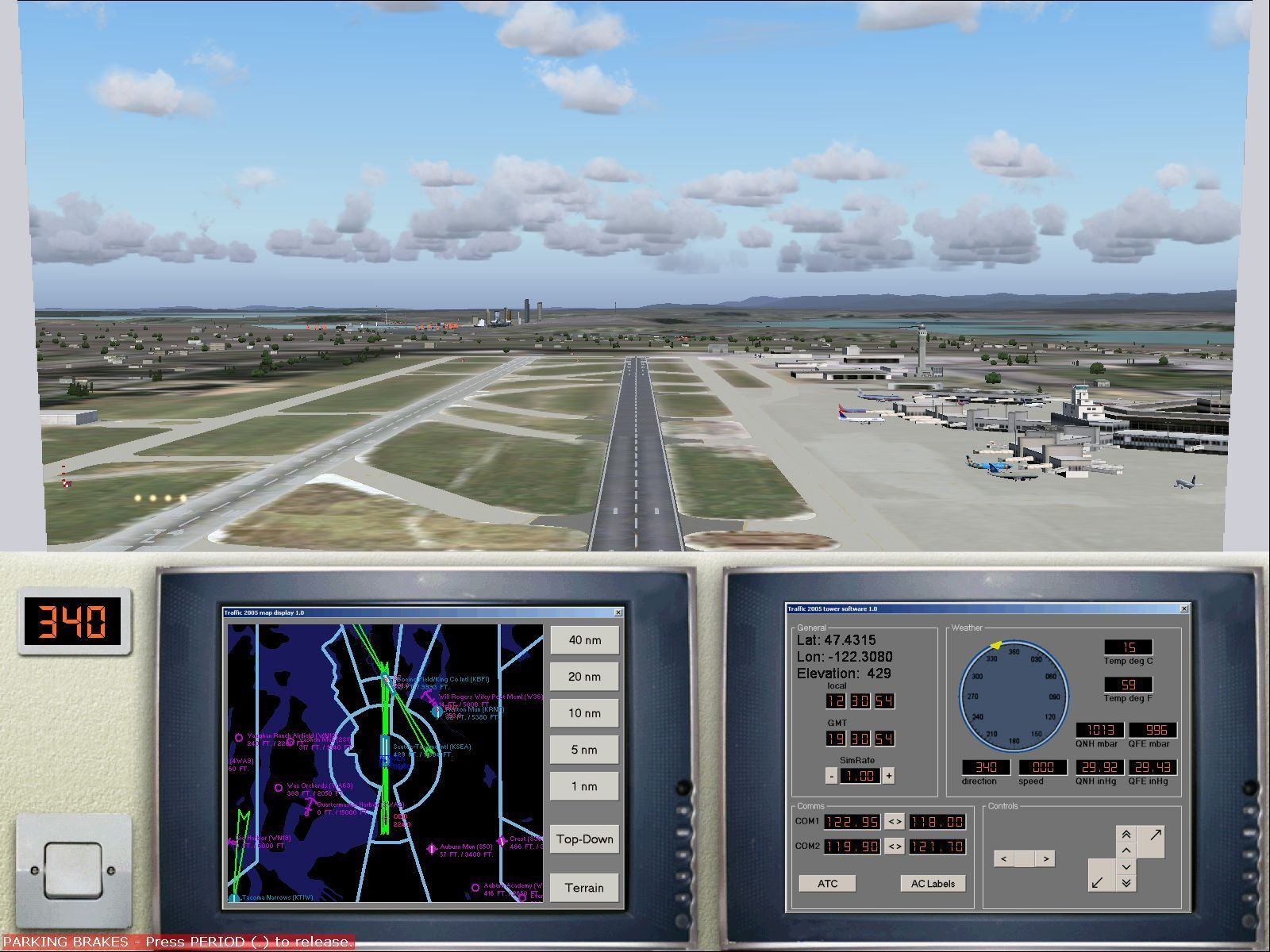 2005 Traffic Windows This is the same airport tower view in daytime. When the tower is selected the player has a choice of an airfield, an airport and either a medium or a large international airport.