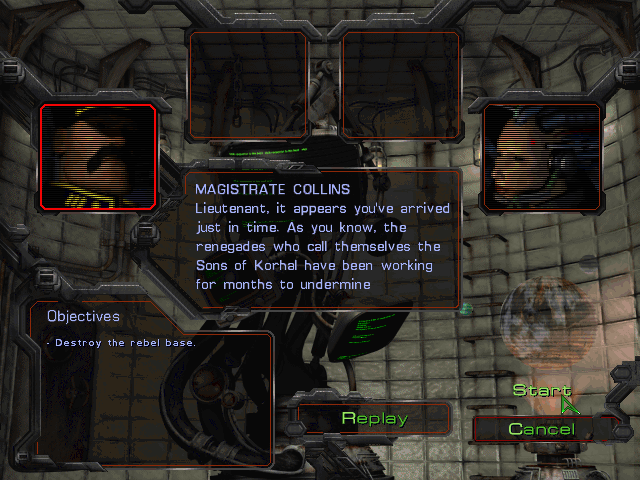 StarCraft (Demo Version) Windows The first mission's briefing. All characters in the demo campaign use generic portraits, like the Magistrate has the Battlecruiser pilot portrait.