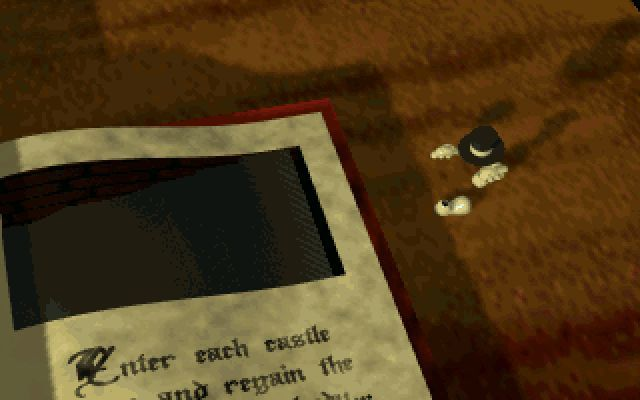 Necromantics DOS At the end of the animates sequence the good brother emerges from the book and the player takes control