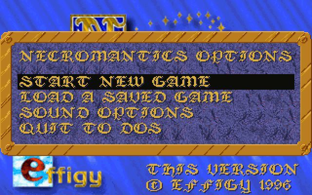 Necromantics DOS This is the start of game menu.
