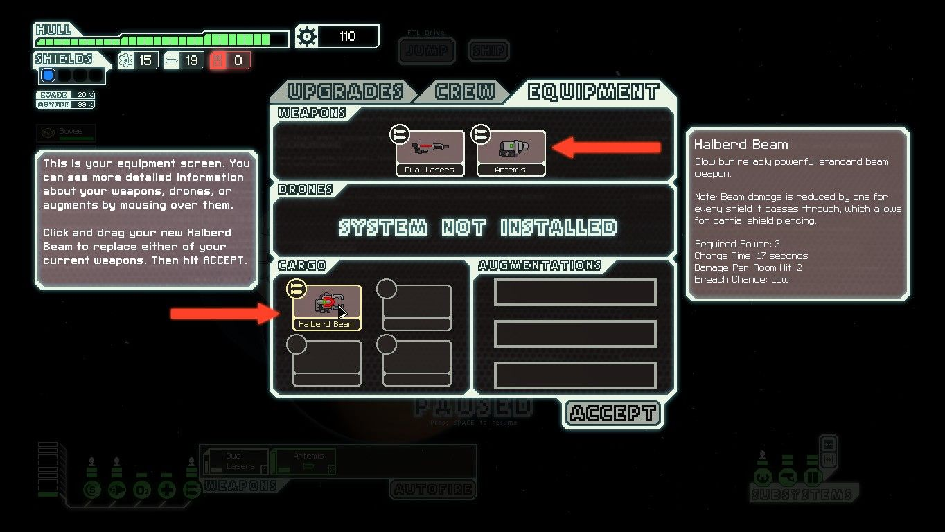 FTL: Faster Than Light Windows The tutorial also covers the ways ship systems are upgraded and how various weapons and equipment can be arranged.