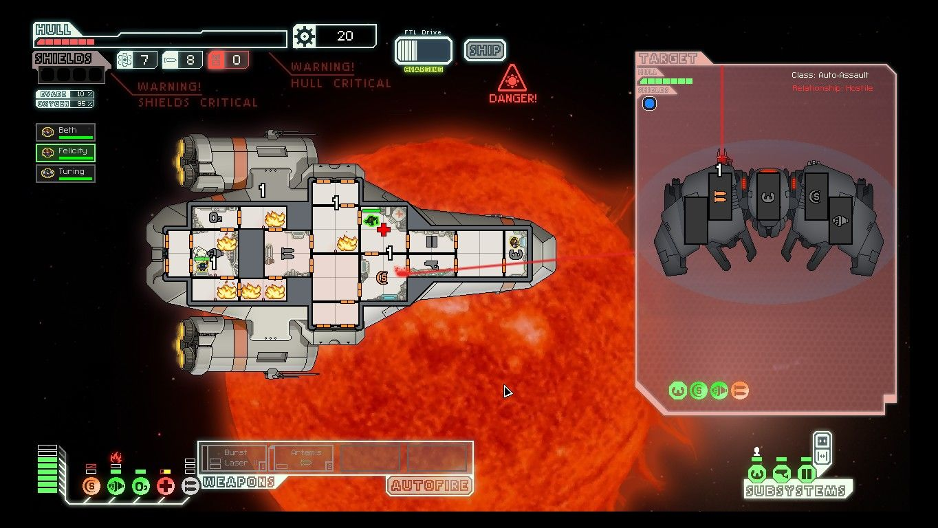 FTL: Faster Than Light Windows Some locations are very dangerous. Here, solar flares are causing fires to start all over the ship. The AI running the airless enemy ship doesn't really care.