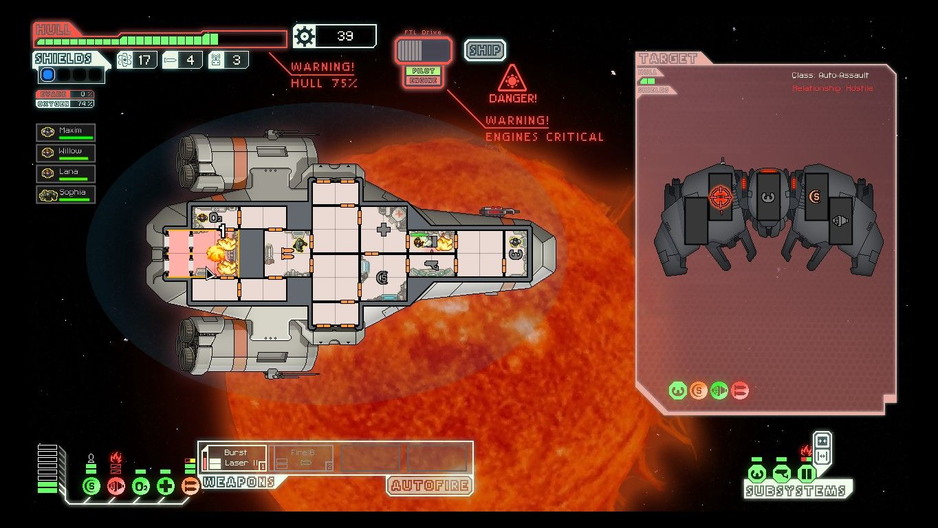 FTL: Faster Than Light Windows One clever way to deal with fires is to open up the airlocks and suck the air out of the affected rooms.