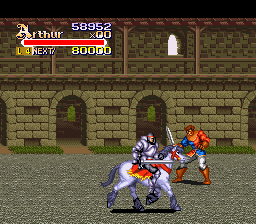 Knights of the Round SNES Arthur on the horse