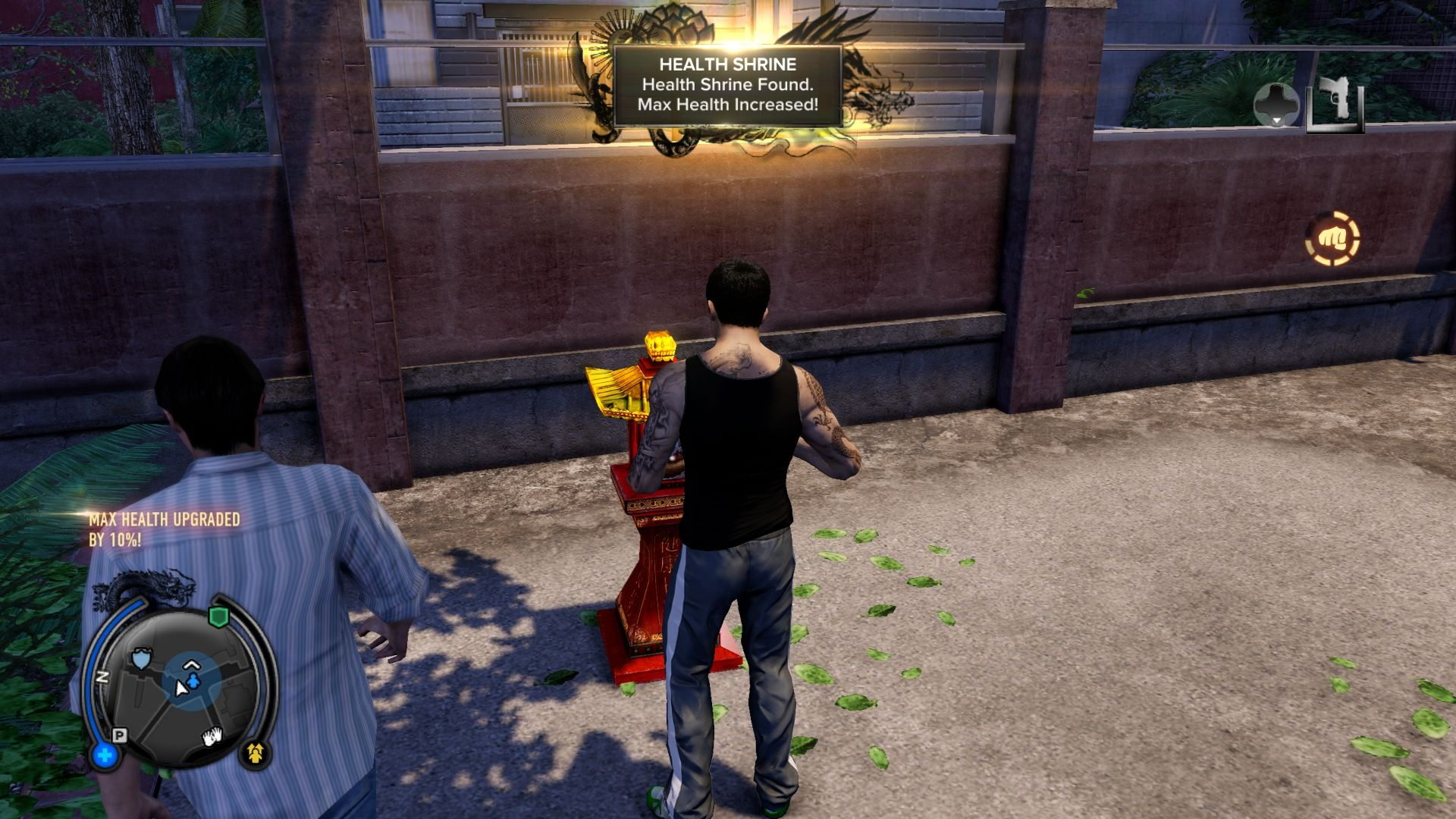 Sleeping Dogs Windows Visiting health shrines grants permanent health boost, 100% max.