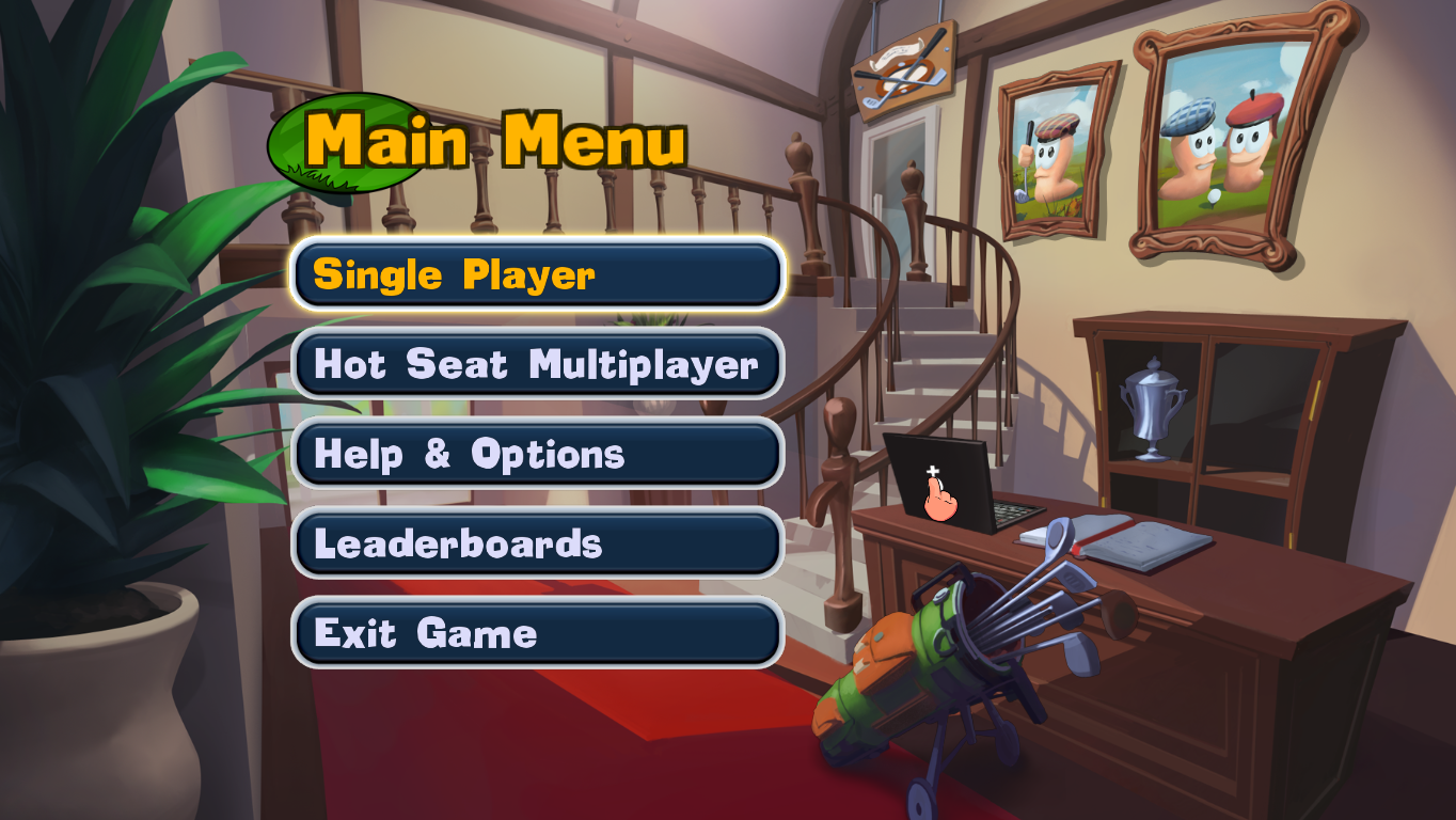 Worms Crazy Golf Windows Main menu