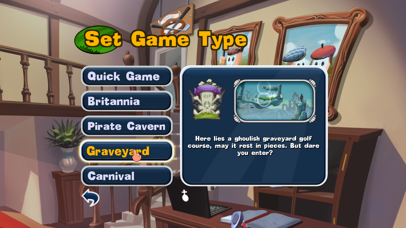 Worms Crazy Golf Windows Overview of the four environments