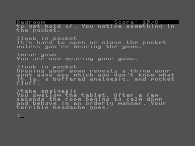 The Hitchhiker's Guide to the Galaxy Commodore 16, Plus/4 I woke up in my room, attempting to start the day