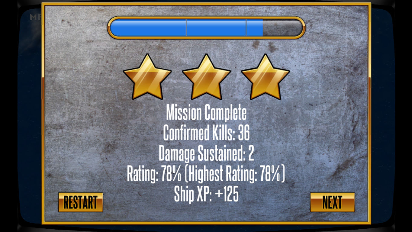 Battle Group Windows Mission complete: three stars earned.