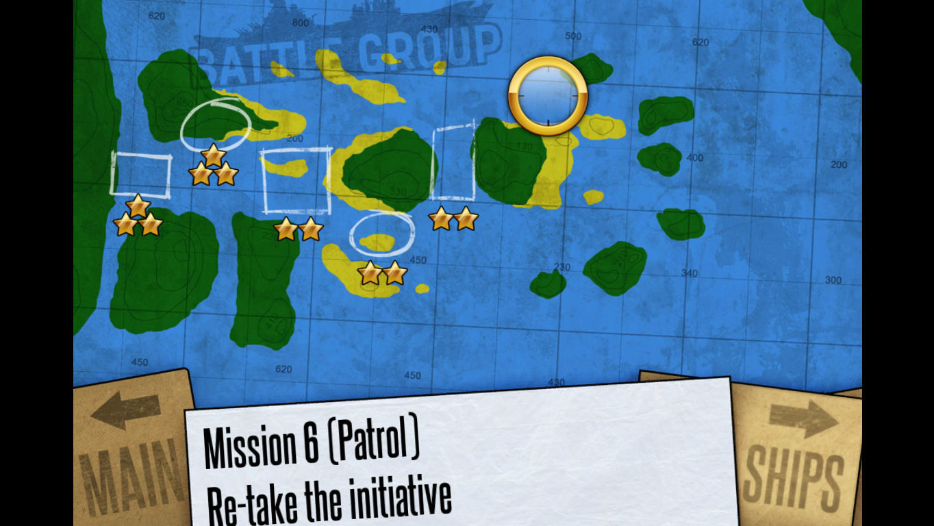 Battle Group Windows The map with the overall mission progress