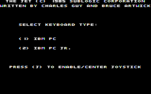 Jet DOS Select Keyboard Type (CGA Composite Mode)