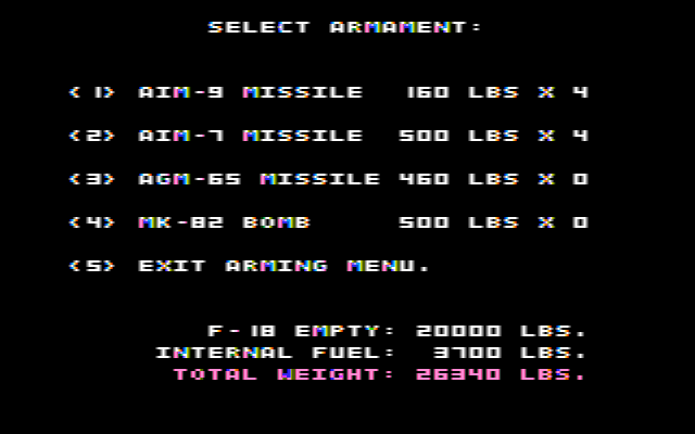 Jet DOS Select Armament (CGA Composite Mode)