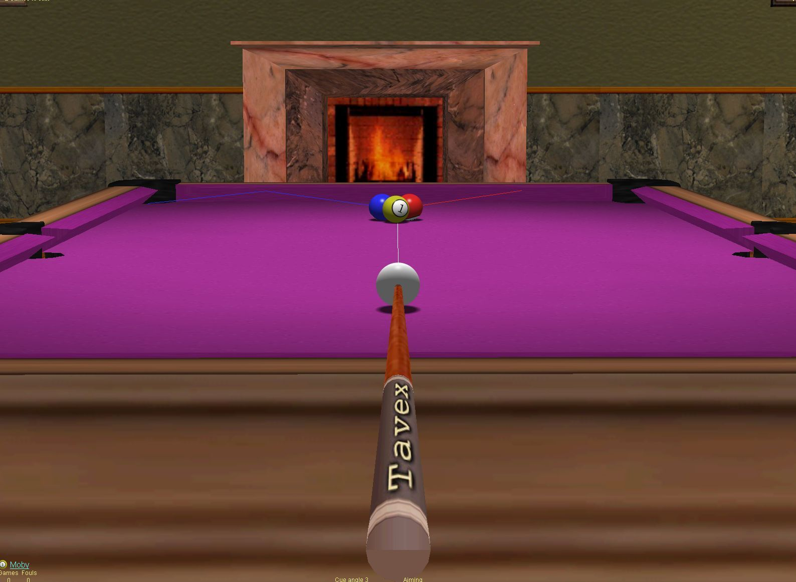 Live Pool Windows In a practice session the player gets sight lines to aid them. This shot shows them and the ability to zoom in/out of the table.