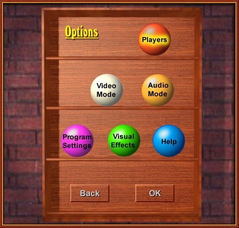 Live Pool Windows This is the game configuration menu. It is accessed via the Options ball on the main menu.