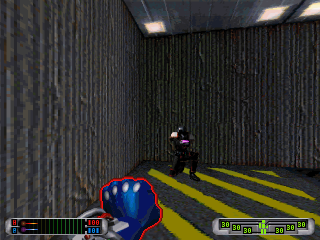 CyberMage: Darklight Awakening (Demo Version) DOS Fighting a guard.