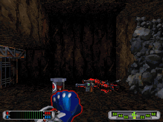 CyberMage: Darklight Awakening (Demo Version) DOS Blasting through all the guards into this cavern was really worth it, as here lies a full health restoration powerup and a new weapon.