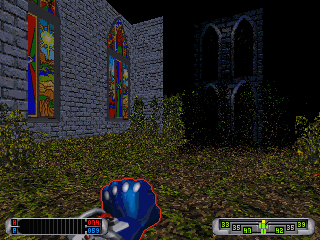 CyberMage: Darklight Awakening (Demo Version) DOS The temple exterior, with some nicely looking stained glass windows.