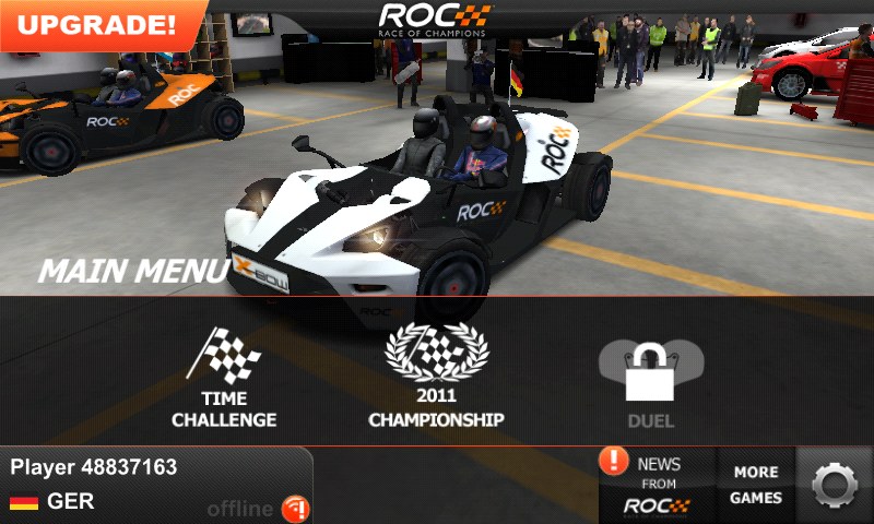 Race of Champions Android Main menu