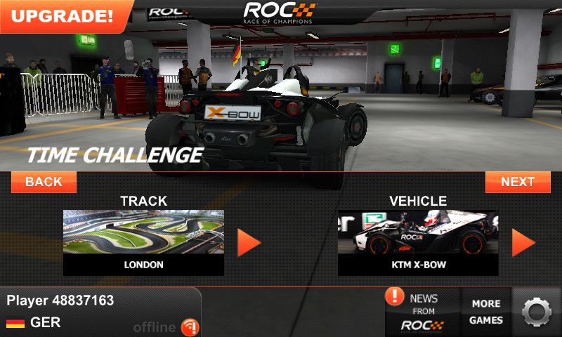 Race of Champions Android Choosing track and car for time challenge race