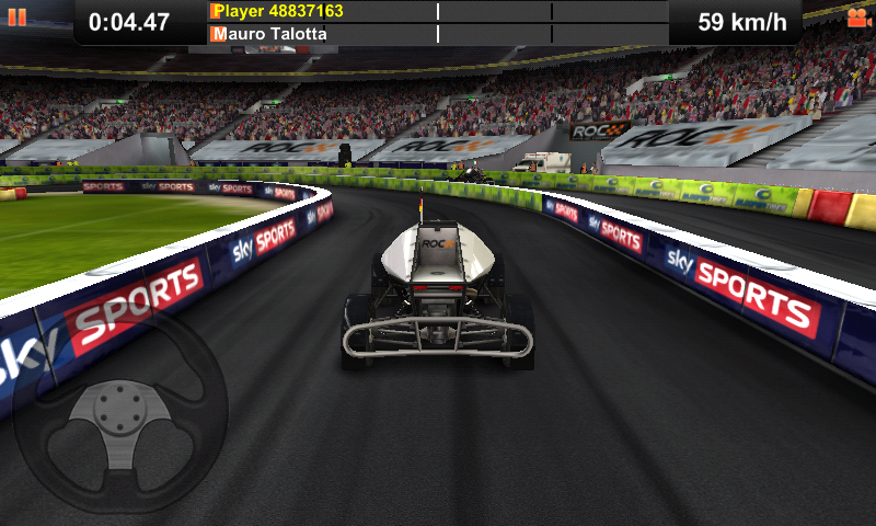 Race of Champions Android Playing with a virtual steering wheel