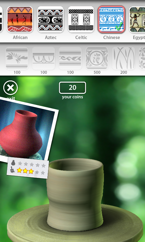 Let's Create! Pottery Android In the shop we can buy different patterns