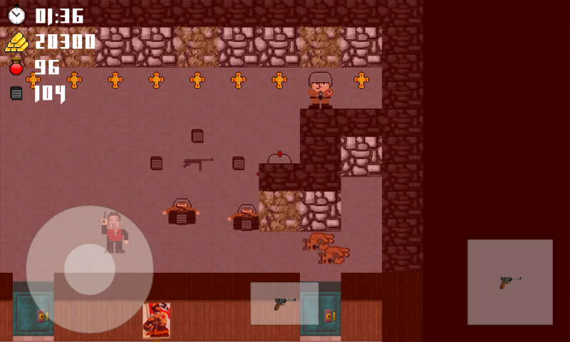 Vogelstein 2D Android You discover a machine gun in this room.