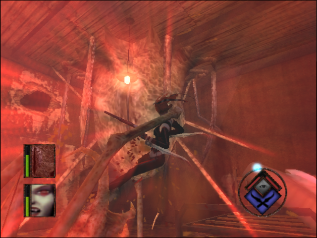 BloodRayne GameCube Rayne fighting a biomass sack in Rage mode