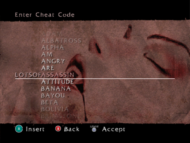 BloodRayne GameCube Cheat menu