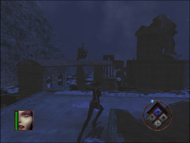 BloodRayne GameCube In some ruins during night time