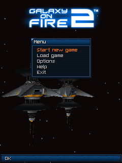Galaxy on Fire 2 J2ME Main menu