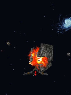 Galaxy on Fire 2 J2ME Destroying an asteroid