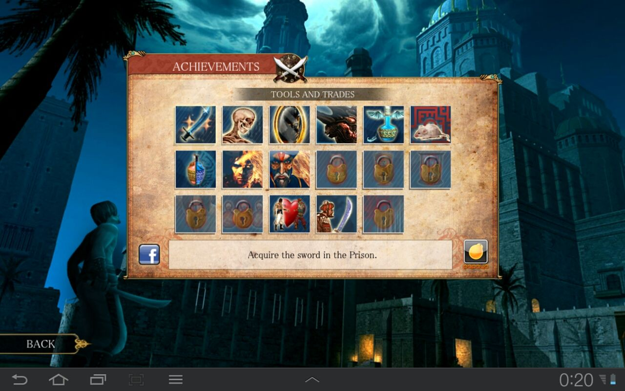 Prince of Persia Classic Android Achievements screen