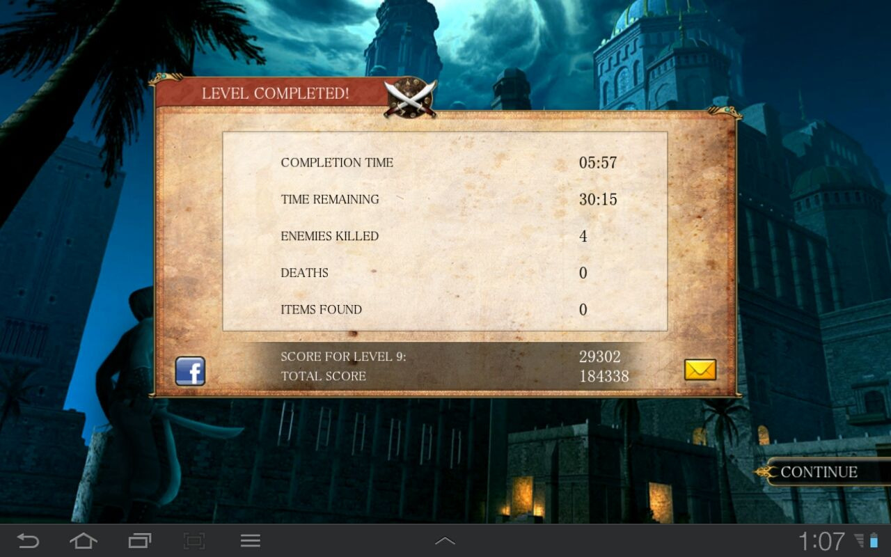 "Prince of Persia Classic Android Playing ""Time attack mode"", Level complete screen shoes the overall remaining time"